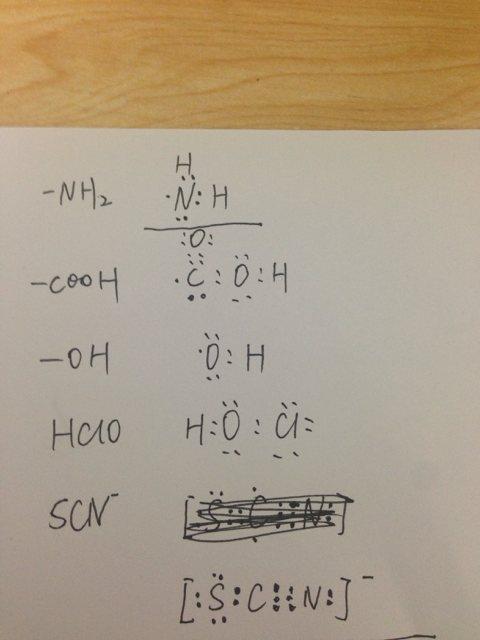 氨基,羧基,羟基,醛基,次氯酸,硫氰根的电子式图片