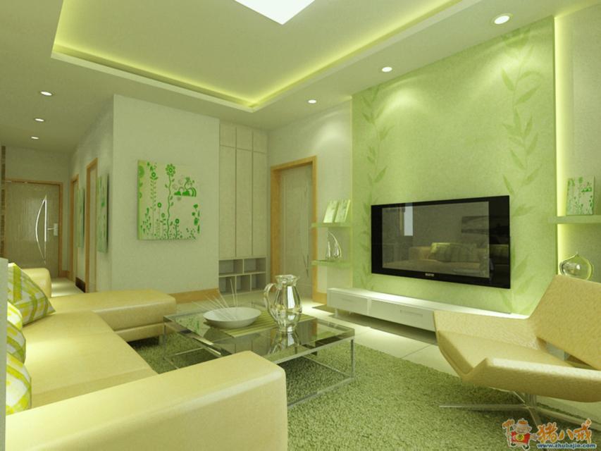 我家绿色地砖 黑墙角线 白墙 白门 浅木纹 请问沙发 窗帘 高清图片