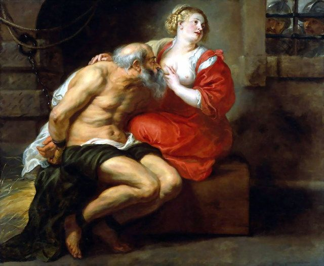 有一幅一个女人喂一个铁链锁住的男人吃奶的油画是