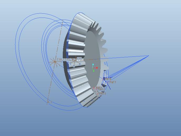 在proe建模中,我需要画一个锥齿轮用的是参数化建模.图片