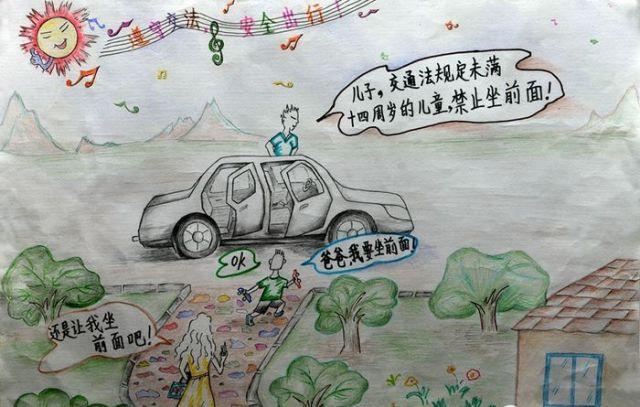 儿童安全绘画图片大全-儿童关于安全的绘画,儿童安全绘画作品,安全简图片