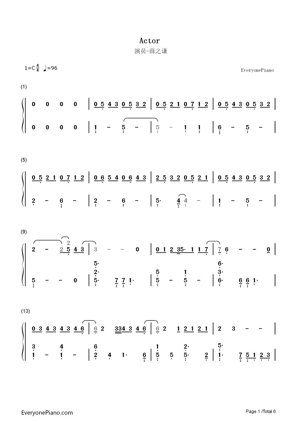演员钢琴简谱,要数字的图片