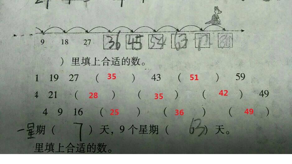 小学数学 中间填上+-号