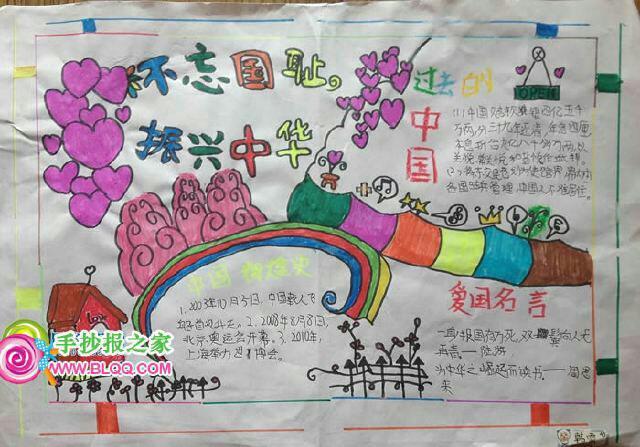 以中华赞中华梦为主题的手抄报该写什么?图片