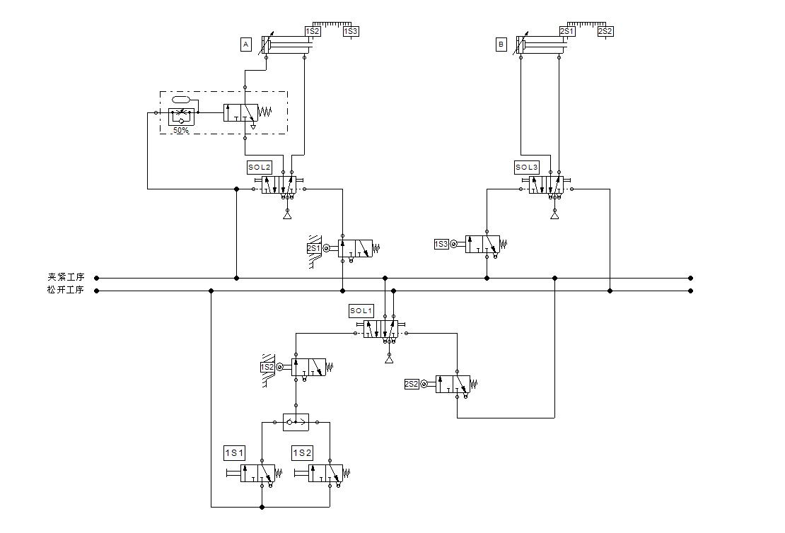 一种物料夹紧装置气动回路设计图片
