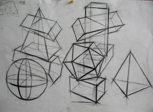 求 简单的素描的几何体图图片