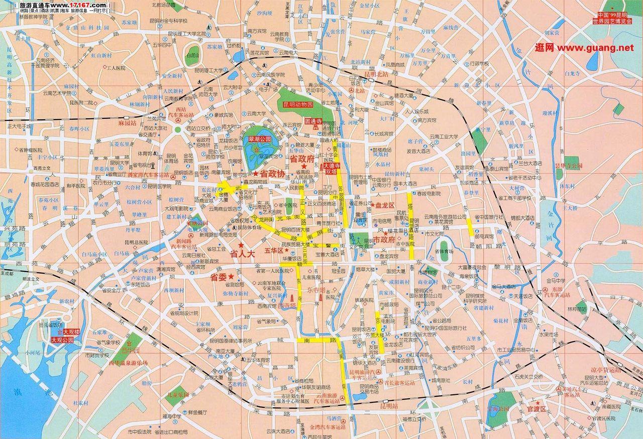 昆明市区地图 昆明市区地图图片 昆明市区哪里最繁华