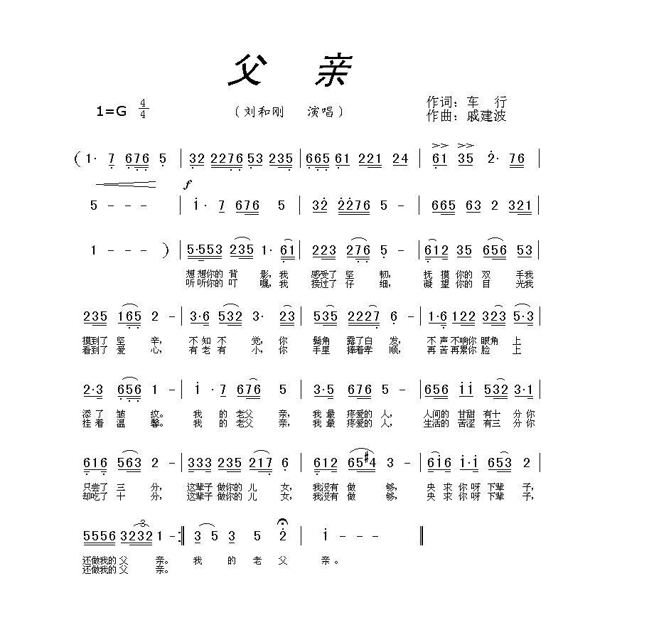 父亲刘和刚简谱g调或f调乐谱图片