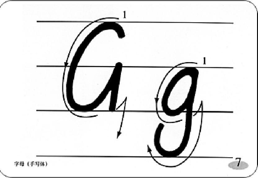 英文字母的书写笔画 -g的笔画顺序怎么写 完美作业网