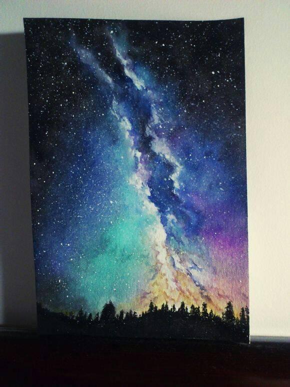 用水粉画星空画,怎么能画出层次感图片