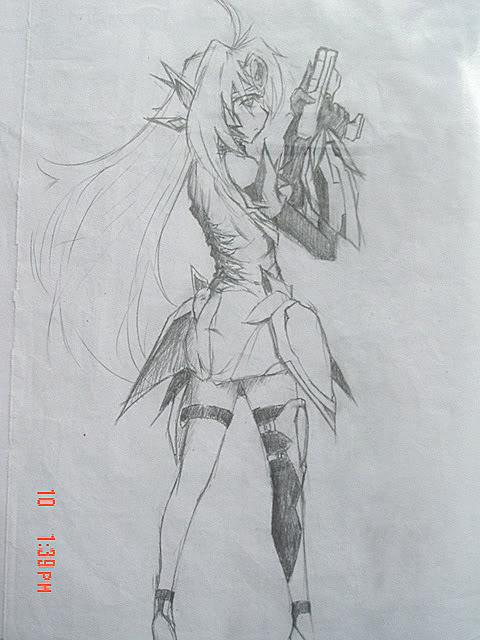 动漫美少女铅笔画图片