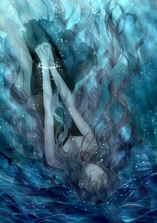 求图,美人落水后并不挣扎,一直往下沉的图片,就是很安详的死去的那种