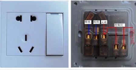 一根是零线,一根是接地线,一根是控制灯具的开关接线.图片