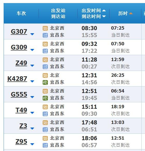 北京到三峡火车
