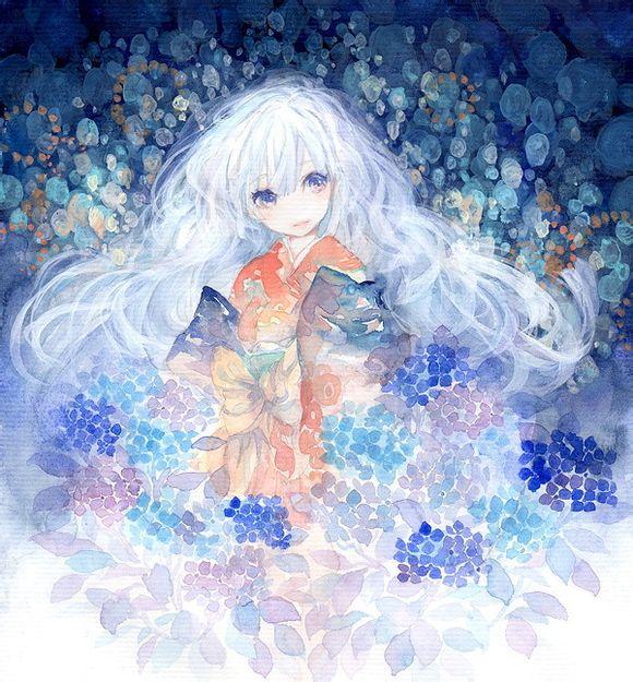 求一张蓝发紫眸的动漫女生图片