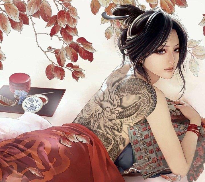 求素描古代美女图片,好看就可以,最好露半背有纹身,或者清晰的,如图图片