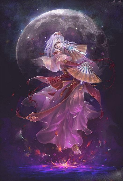 古装紫衣银发紫眸美女图
