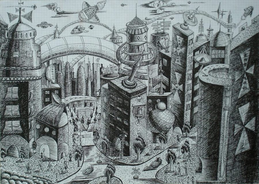 求一张有技术含量的科技绘画图片