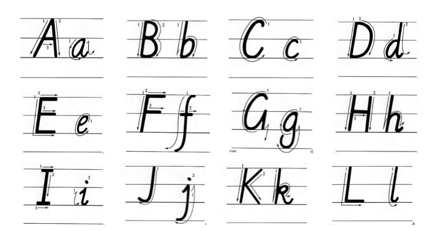 字母母书写表格