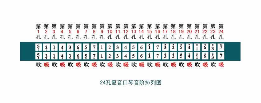 24孔复音口琴的音阶排列图片