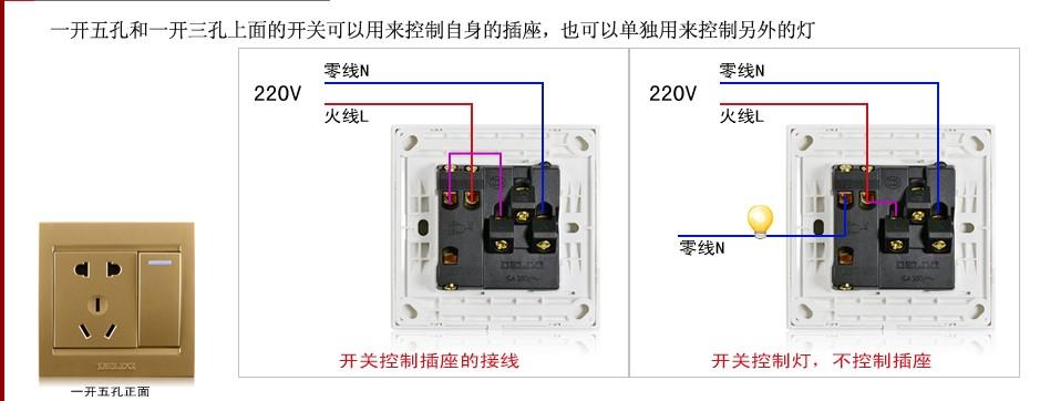 """孔插座怎么接线图""""相关的详细问题如下:这两个之间控制一个灯等怎么接图片"""