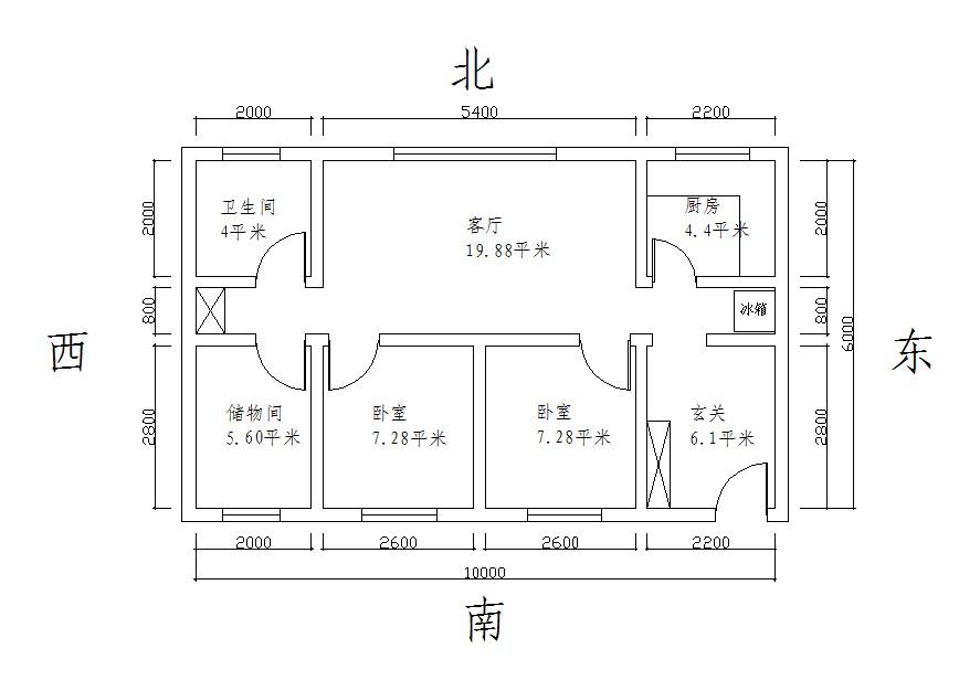 竖长方形房子设计图图片; 一间长10米,宽6米的长方形大房子.图片
