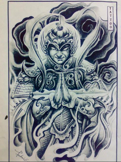 韦驮菩萨纹身手稿图片