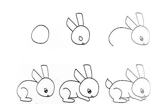 小白兔头饰简笔画