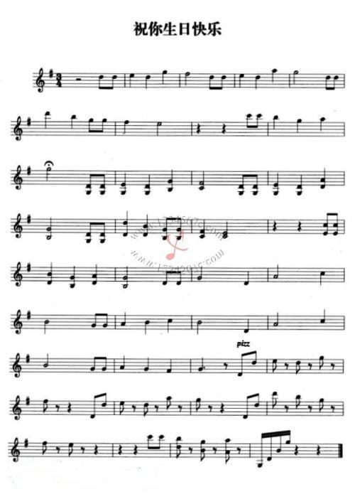 《祝你生日快乐》小提琴五线谱图片