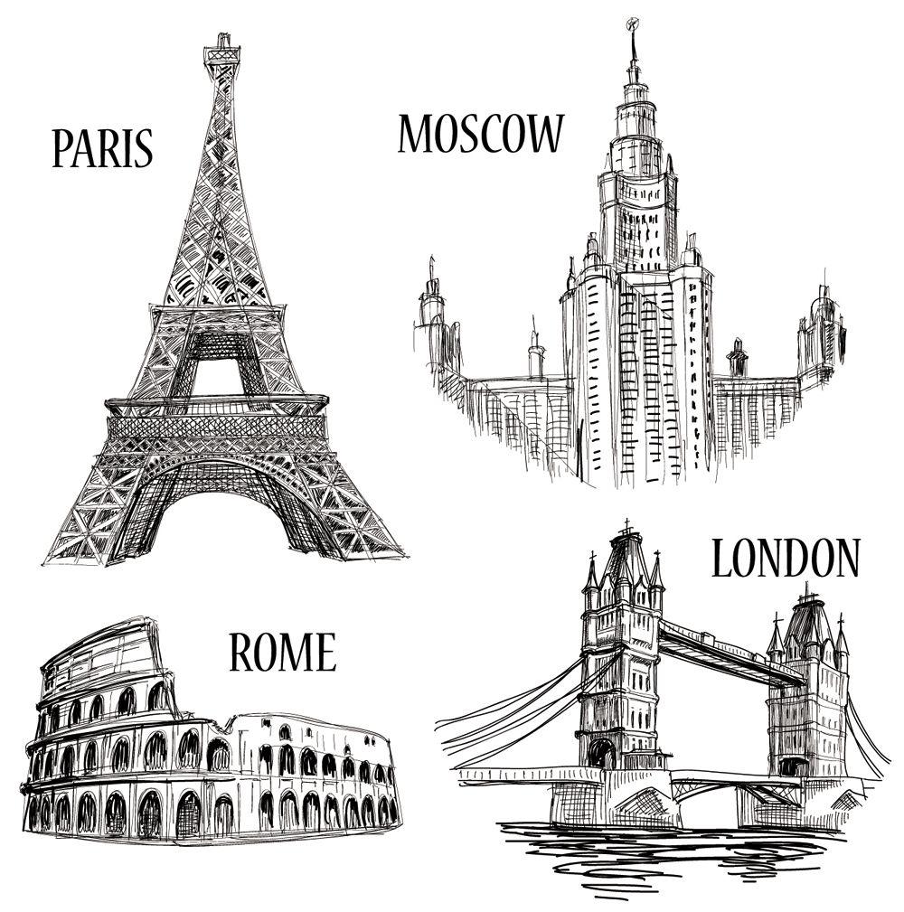 世界地标建筑简笔画