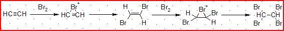 炔烃与溴水反应生成物
