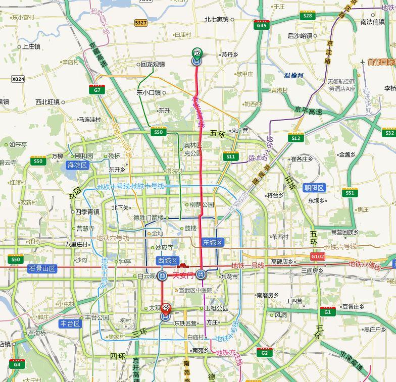 北京南站至北京北站_北京站、北京南站、北京西站和北京北站相邻地