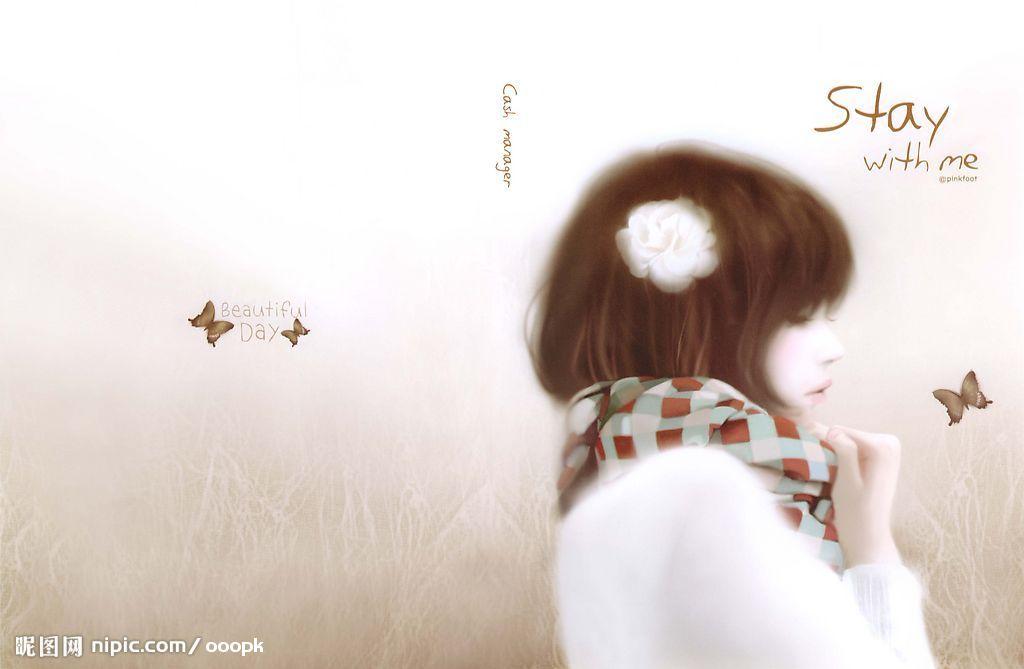 求这款韩国手绘女孩壁纸的系列图片