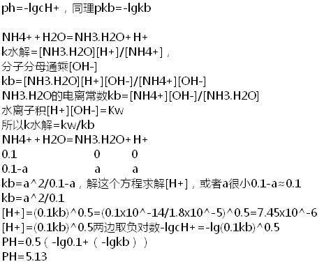 0.1mol/lnh4cl的ph值