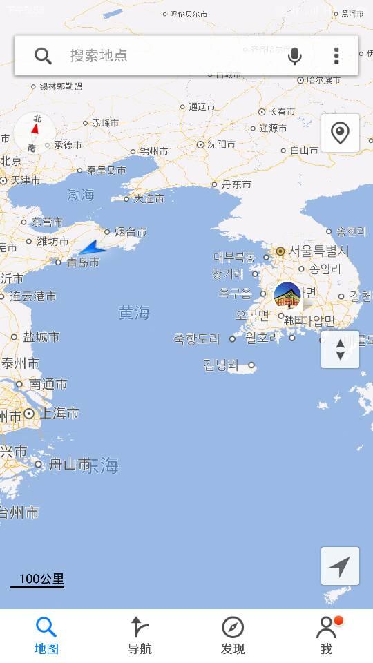 我��]ۛ[�_我现在在青岛,海阳,我在海边,地图上看到海对面是韩国