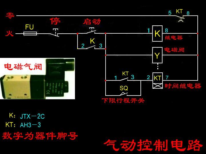 电磁阀控制气缸下压产品延时3秒自动退回电路图启动用图片