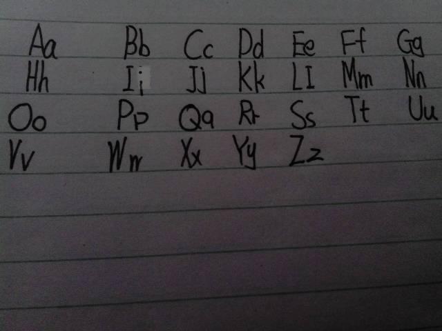 二十六个英文字母大小写图片