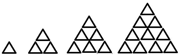 如图所示,探寻三角形叠加的层数与三角形的个数之间的图片