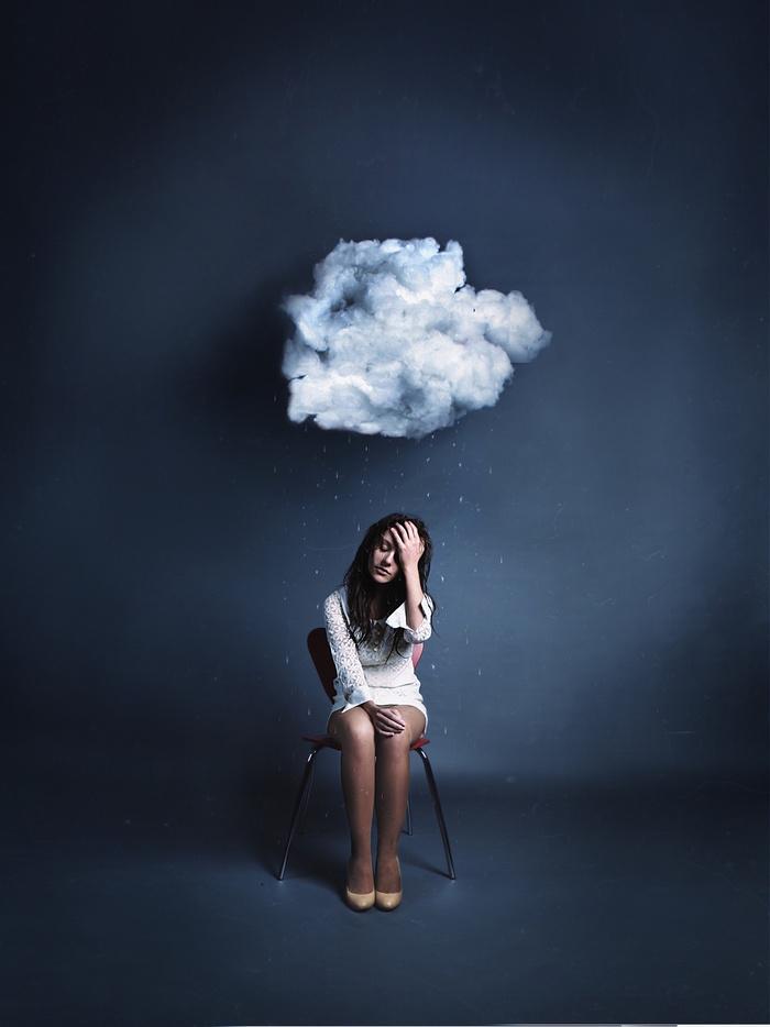 求这张女生云朵淋雨大图当桌面! 竖