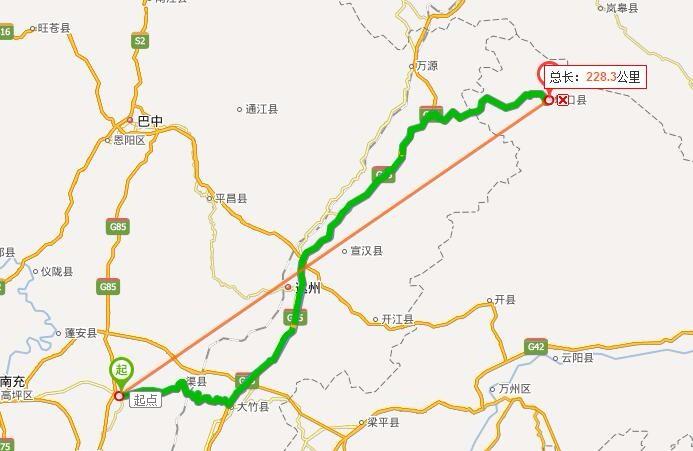 驾车路线:全程约307.8公里 起点:广安市花桥派出所 1.