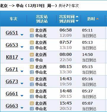 从北京去华山