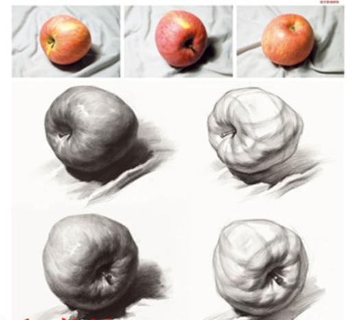 铅笔素描画一个苹果图片
