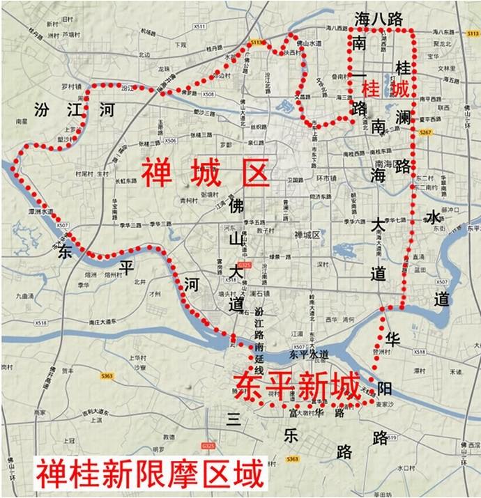佛山禅城中心城区限摩区域图图片