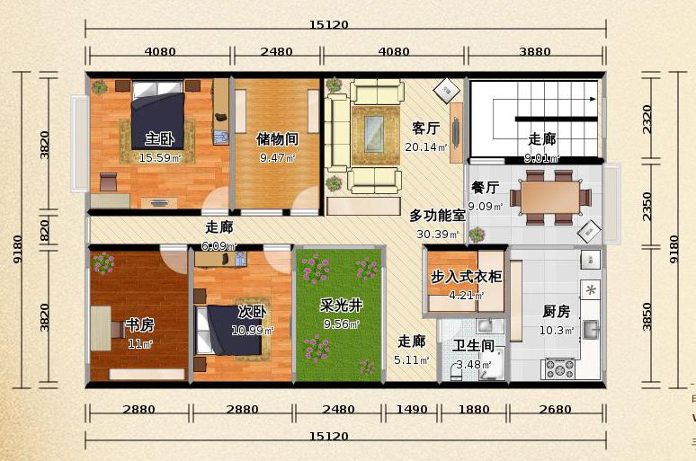 求农村自建房图纸,8米宽15米深图纸各一张,一楼客厅,厨房,餐厅,卧室图片