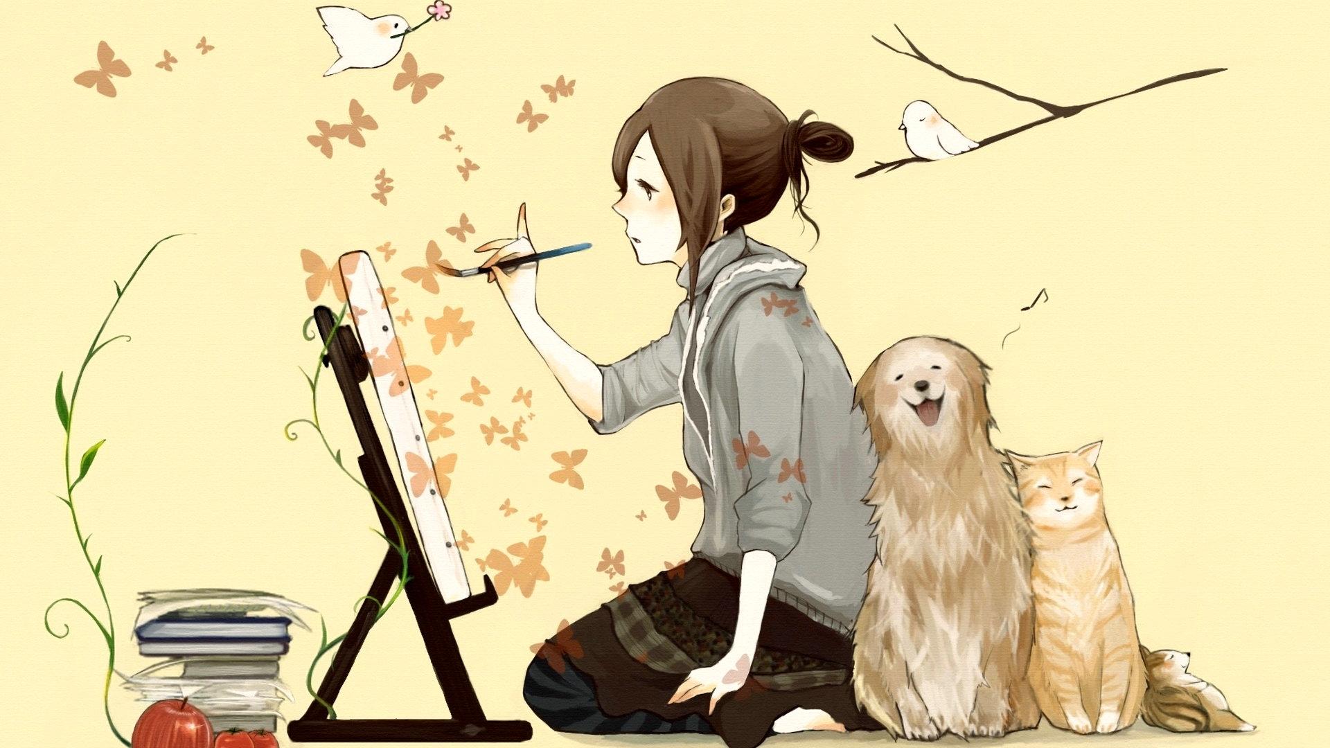 求动漫美少女和宠物在一起的图片