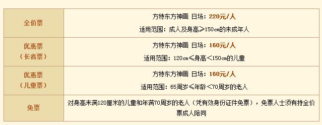 芜湖方特四期票价