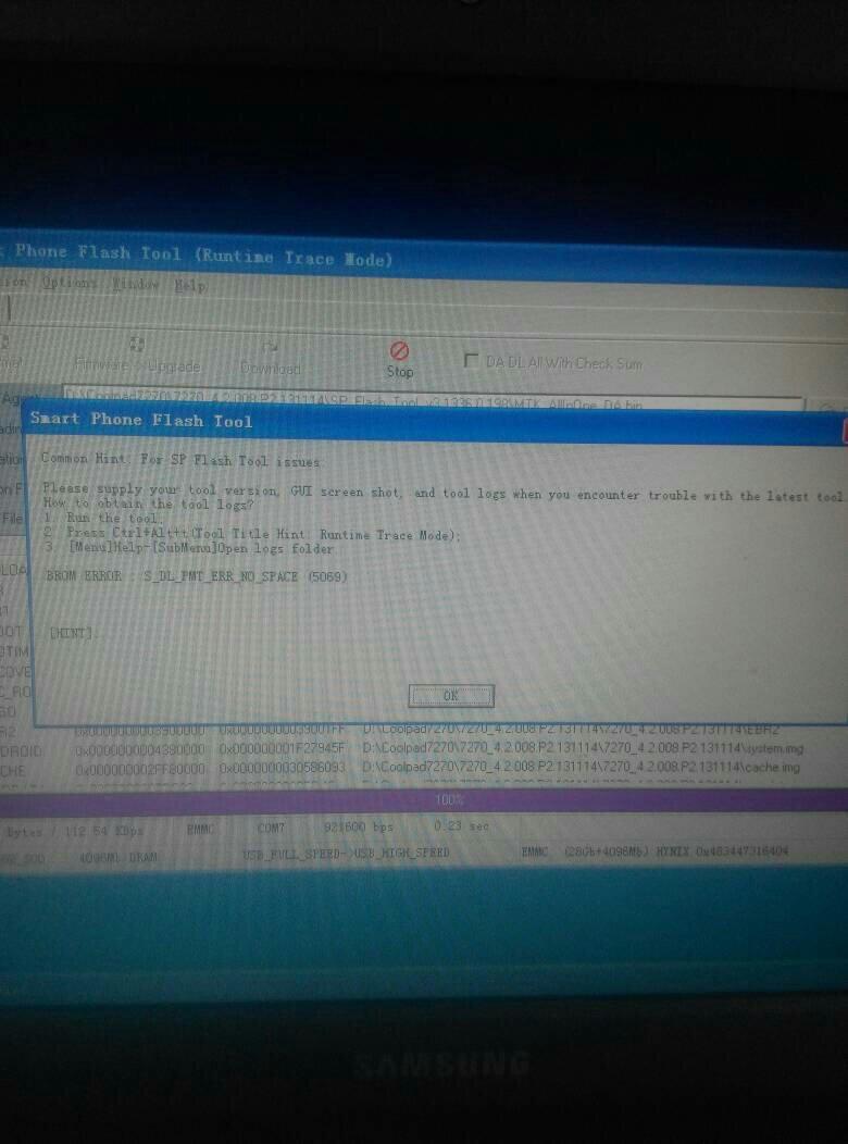 线刷出现:brom error:s_ft_enable_dram_fail (5007)是什么意思