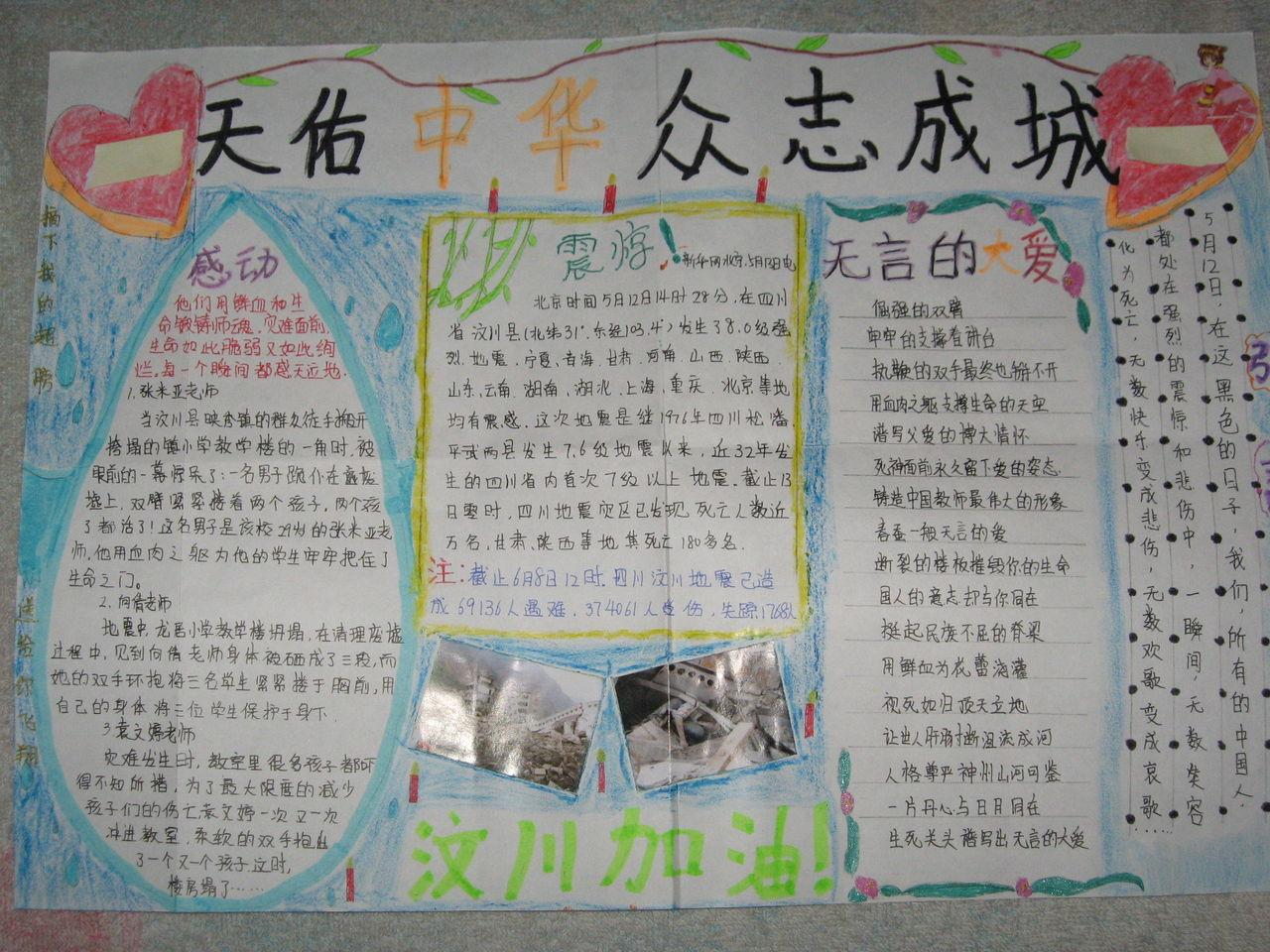小学生抗震救灾手抄报高清图片