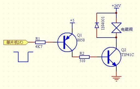 5v单片机如何控制24v的电磁阀.请给出具体的电路图及图片
