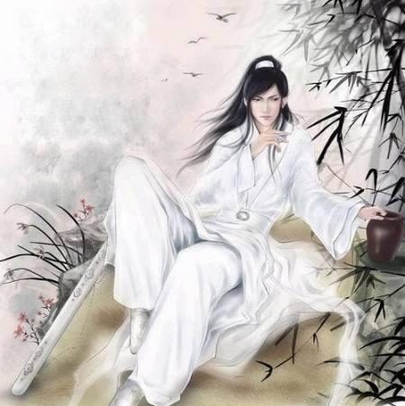 手绘古装白衣男子图片